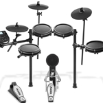 Alesis NITROMESHKITXUS Nitro 8-Piece Compact Drum Kit with 300+ Sounds, Kick Pedal, and Drum Rack