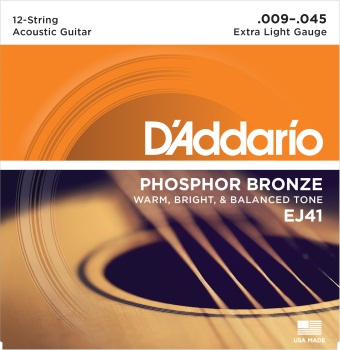 D'Addario EJ41 12-String Phosphor Bronze Acoustic Guitar Strings, Extra Light, 9-45