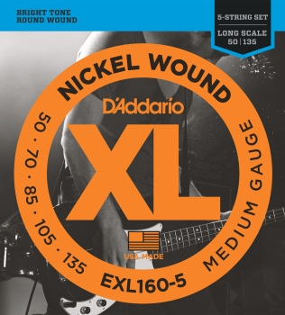 EXL165-5 D'Addario EXL165 5-String Nickel Wound Bass Guitar Strings, Custom Light, 45-135, Long Scale